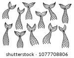 set of mermaid tail silhouettes.... | Shutterstock .eps vector #1077708806