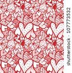 doodle textured hearts seamless ... | Shutterstock . vector #107773532
