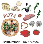 ingredients for pizza such as... | Shutterstock .eps vector #1077736952