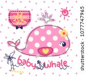 cute cartoon whale with pocket... | Shutterstock .eps vector #1077747965