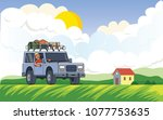 suv car with luggage on the... | Shutterstock .eps vector #1077753635