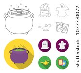 a witch cauldron  a tombstone ... | Shutterstock .eps vector #1077770072