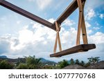 giant swing with a clear blue... | Shutterstock . vector #1077770768