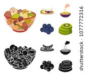 assorted nuts  fruits and other ... | Shutterstock .eps vector #1077772316