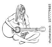 girl with guitar outline hand...   Shutterstock .eps vector #1077779885