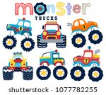 set of monster truck cartoon... | Shutterstock .eps vector #1077782255