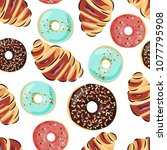 sweet seamless pattern with... | Shutterstock .eps vector #1077795908