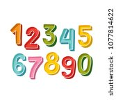 cute handdrawn bold numbers set ... | Shutterstock .eps vector #1077814622