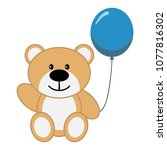 toy bear with blue air balloon | Shutterstock .eps vector #1077816302