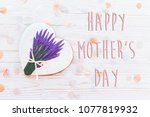happy mother's day text on...   Shutterstock . vector #1077819932