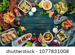 food in lunch boxes. delivery...   Shutterstock . vector #1077831008