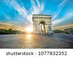 paris arc de triomphe ... | Shutterstock . vector #1077832352
