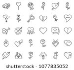 thin line icon set   rose... | Shutterstock .eps vector #1077835052