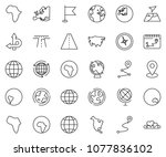 thin line icon set   around the ... | Shutterstock .eps vector #1077836102
