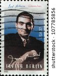 Small photo of UNITED STATES OF AMERICA - CIRCA 2002: A stamp printed in USA shows Russian-born American composer and lyricist Irving Berlin, circa 2002