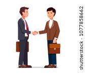 two international business man... | Shutterstock .eps vector #1077858662
