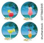 beach bar. set of alcohol... | Shutterstock .eps vector #1077860345