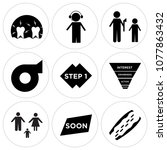 set of 9 simple editable icons...   Shutterstock .eps vector #1077863432