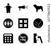 set of 9 simple editable icons... | Shutterstock .eps vector #1077863522