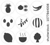 set of 9 simple editable icons... | Shutterstock .eps vector #1077864008