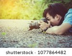 photographers are photographing ... | Shutterstock . vector #1077864482