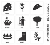 set of 9 simple editable icons... | Shutterstock .eps vector #1077866072