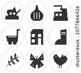 set of 9 simple editable icons... | Shutterstock .eps vector #1077866426