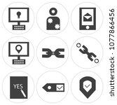 set of 9 simple editable icons... | Shutterstock .eps vector #1077866456