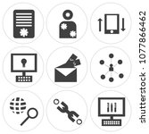 set of 9 simple editable icons... | Shutterstock .eps vector #1077866462