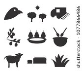 set of 9 simple editable icons... | Shutterstock .eps vector #1077866486