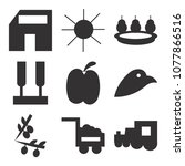 set of 9 simple editable icons... | Shutterstock .eps vector #1077866516