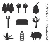 set of 9 simple editable icons... | Shutterstock .eps vector #1077866612