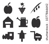set of 9 simple editable icons... | Shutterstock .eps vector #1077866642