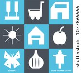 set of 9 simple editable icons... | Shutterstock .eps vector #1077866666