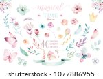 Stock photo hand drawing isolated boho watercolor blossom floral illustration with leaves branches flower 1077886955