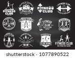 fitness club badges. vector.... | Shutterstock .eps vector #1077890522