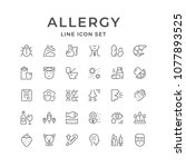 set line icons of allergy | Shutterstock .eps vector #1077893525