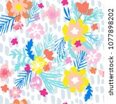 bright floral pattern with... | Shutterstock .eps vector #1077898202