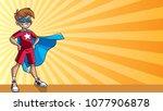 illustration of super hero boy... | Shutterstock .eps vector #1077906878