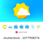 modern weather icons set | Shutterstock .eps vector #1077908576