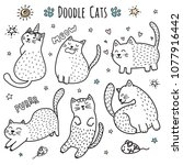 cute hand drawn doodle cats.... | Shutterstock .eps vector #1077916442