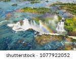 beautiful aerial view of iguazu ... | Shutterstock . vector #1077922052