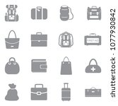 bags icons. gray flat design.... | Shutterstock .eps vector #1077930842