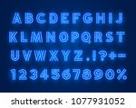 font neon blue symbol  light...   Shutterstock .eps vector #1077931052