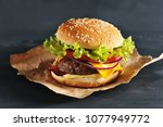 hamburger with onion tomato and ... | Shutterstock . vector #1077949772