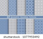 set of seamless line patterns.... | Shutterstock .eps vector #1077953492