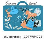 sea travel set for a woman.... | Shutterstock .eps vector #1077954728