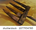 a pitchfork made of wood | Shutterstock . vector #1077954785