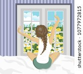 woman stretching in bed after...   Shutterstock .eps vector #1077972815