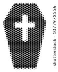 halftone dot coffin icon.... | Shutterstock .eps vector #1077973556